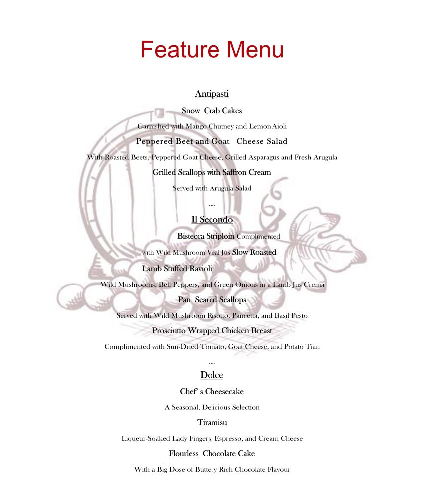 Private Dining Menu